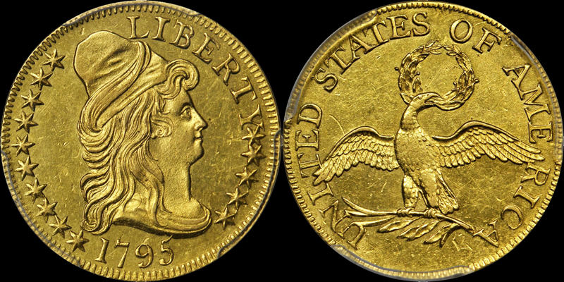 1795 Small Eagle $5.00 PCGS AU58, image courtesy of Stacks Bowers