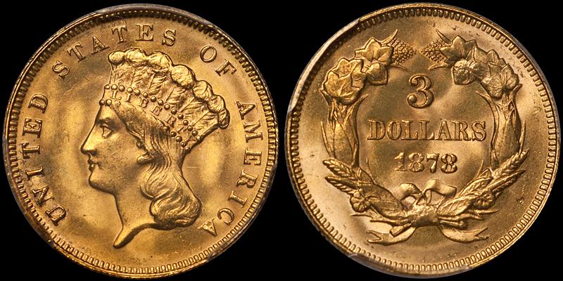 1878 $3.00 PCGS MS64