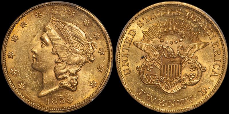 1859 $20.00 PCGS AU58+ CAC