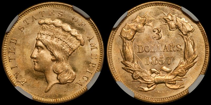 1857 $3.00 NGC MS64+ CAC