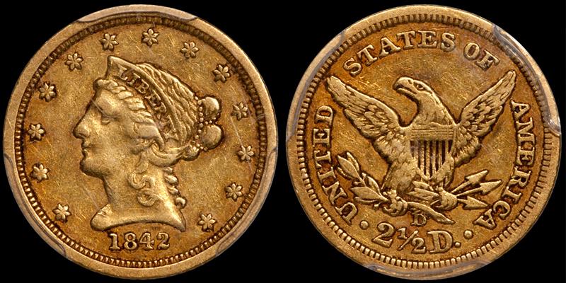 1842-D $2.50 PCGS EF40 CAC