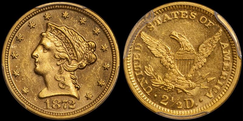 1872 $2.50 PCGS MS62 CAC