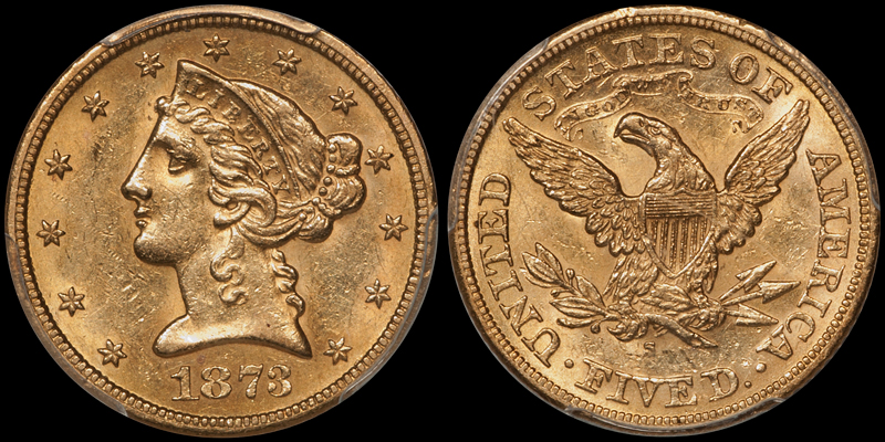 1873-S $5.00 PCGS AU58 CAC