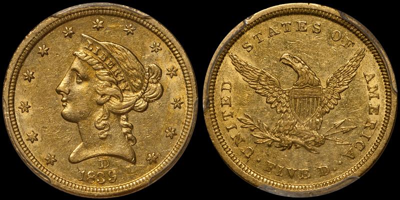 1839-D $5.00 PCGS AU55