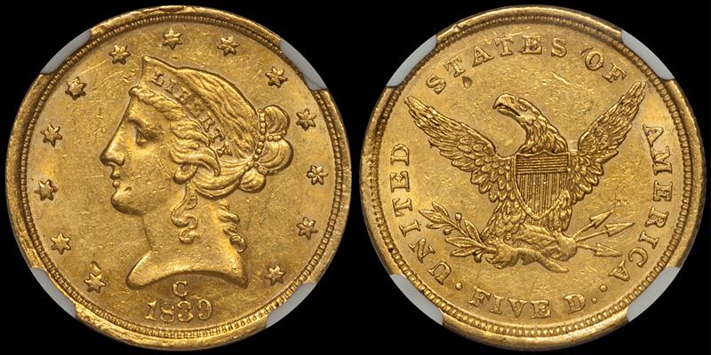 1839-C $5.00 PCGS AU55