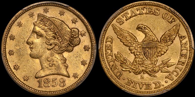 1858-S $5.00 PCGS AU58 CAC