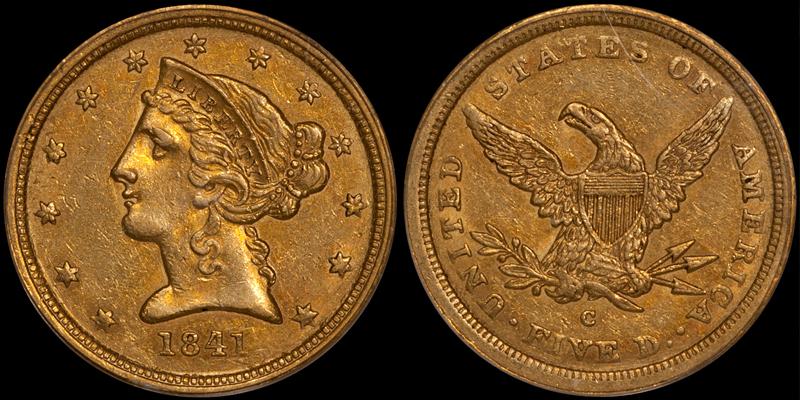 1841-C $5.00 PCGS AU55 CAC, ex Norweb