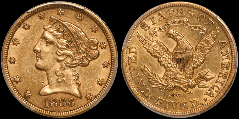 1883-CC $5.00 PCGS AU55 CAC