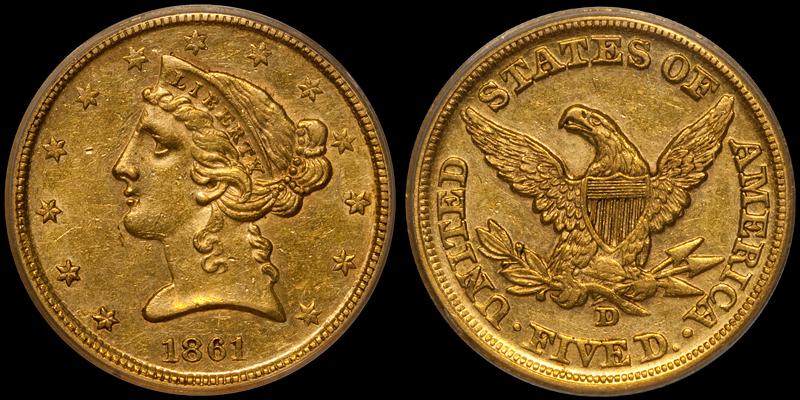 1861-D $5.00 PCGS AU58 CAC/OGH, ex Pittman