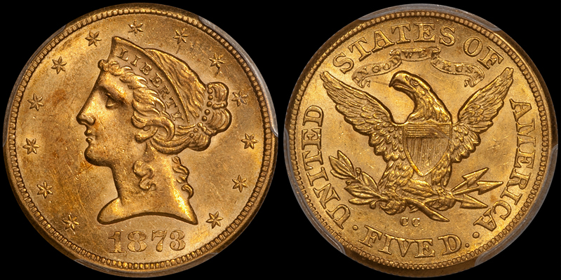 1873-CC $5.00 PCGS MS61