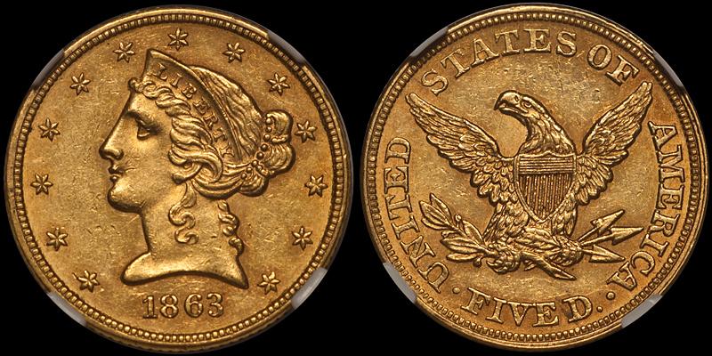 1863 $5.00 NGC MS60 CAC
