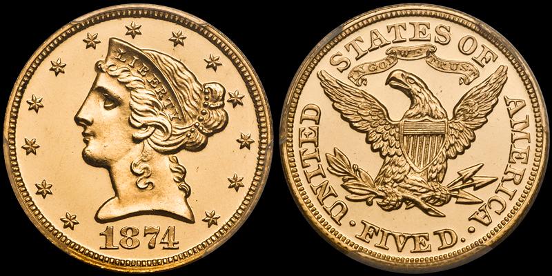 1874 $5.00 PCGS PR65DCAM