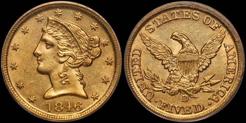 1846-D/D $5.00 PCGS MS61 CAC