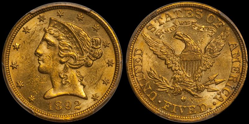1892-O $5.00 PCGS MS61 CAC