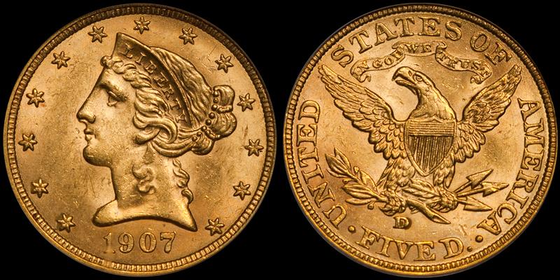1907-D $5.00 PCGS MS63 CAC