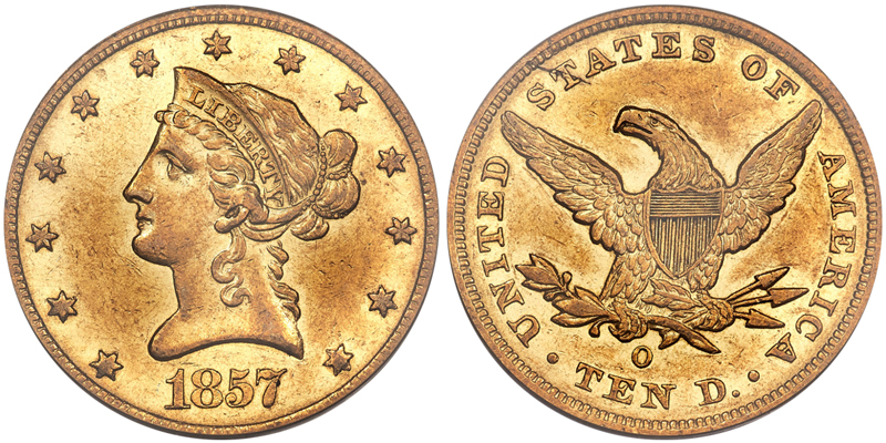 1857-O $10.00 PCGS AU50, courtesy of Heritage