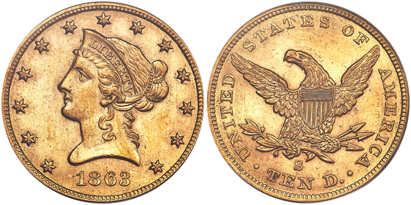 1863-S $10.00 PCGS MS60, courtesy of Heritage