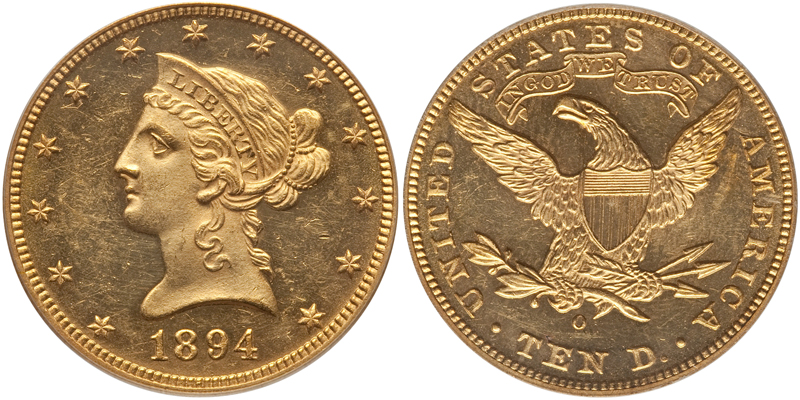 1894-O $10.00 PCGS MS61 CAC Gold Sticker, courtesy of Heritage