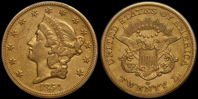 1854-O $20.00 PCGS EF40