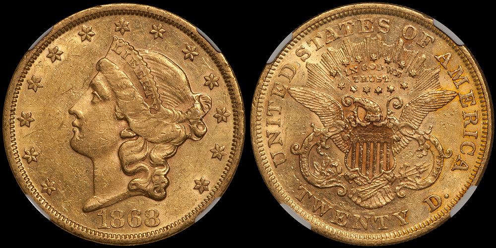 1868 $20.00 NGC AU55 CAC