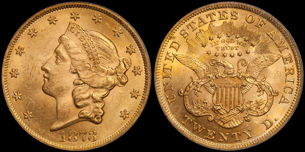 1873 Open 3 $20.00 PCGS MS62+ CAC
