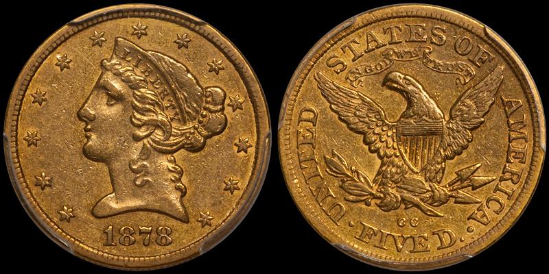 1878-CC $5.00 PCGS EF40