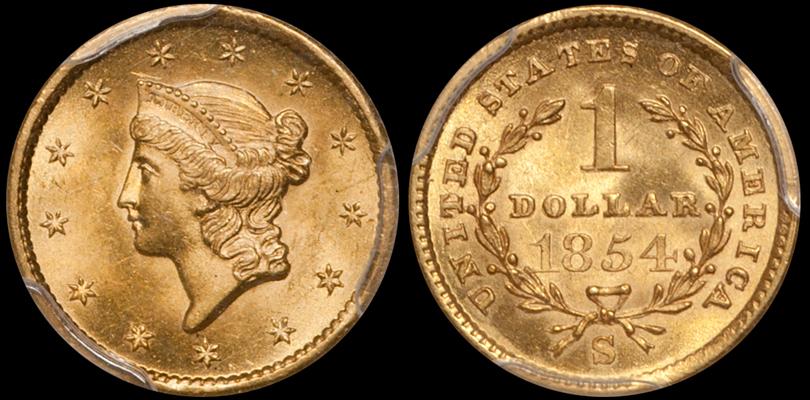 1854-S $1.00 PCGS MS64 CAC