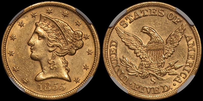 1855-S $5.00 NGC AU58 CAC
