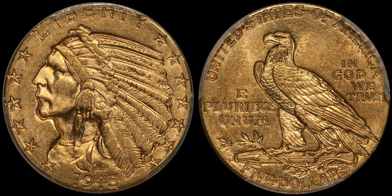 1915-S $5.00 PCGS MS62 CAC