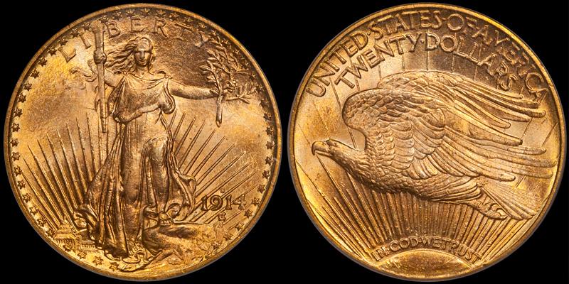 1914-S $20.00 PCGS MS65+ CAC