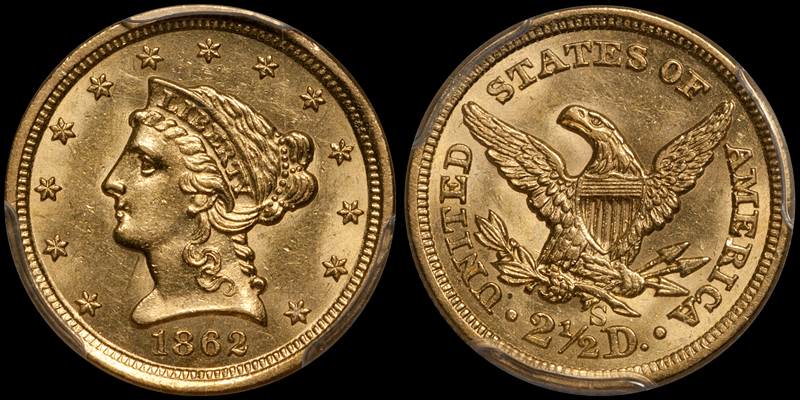 1862-S $2.50 PCGS MS61 CAC
