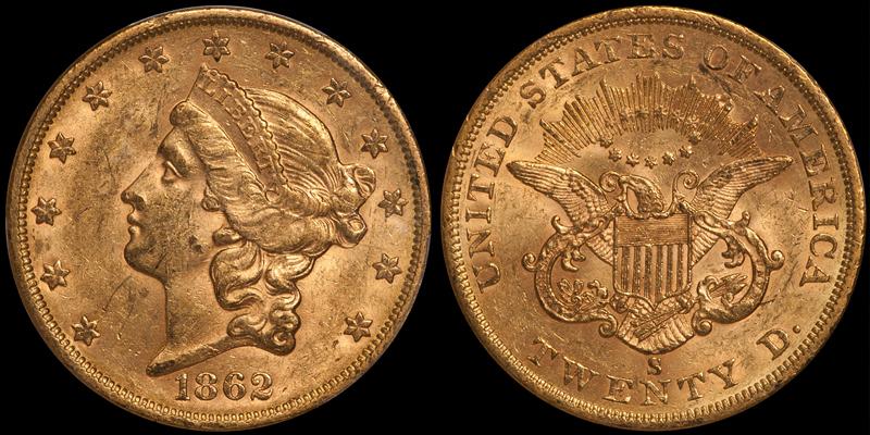 1862-S $20.00 PCGS AU58 CAC