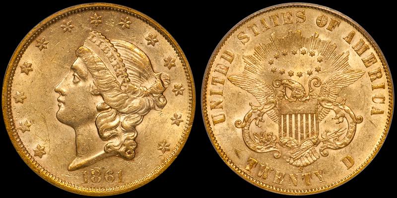 1861-S Paquet $20.00 PCGS AU58