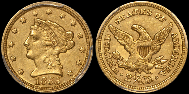 1855-C $2.50 PCGS AU53; another item DWN has sold that fits our hypothetical criteria.