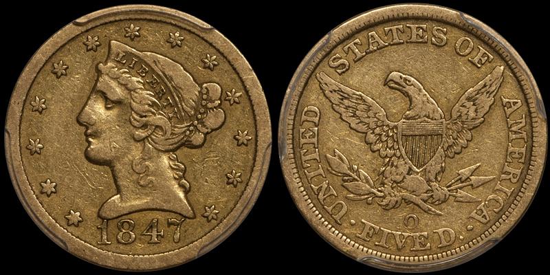 1847-O $5.00 PCGS VF25 CAC