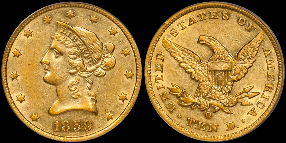 1859-O $10.00 PCGS AU55, from the  New England Collection