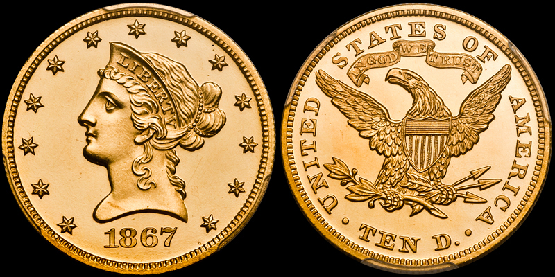 another stunner - 1867 $10.00 PCGS PR64 DCAM: Proofs are still challenging to shoot, even after all these years