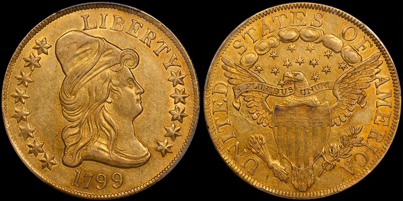 1799 Large Stars Obverse $10.00 PCGS AU55
