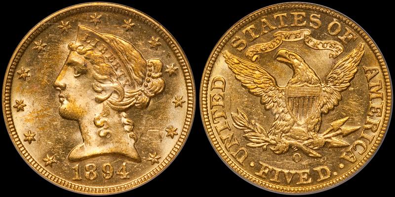 1894-O $5.00 PCGS MS62 CAC