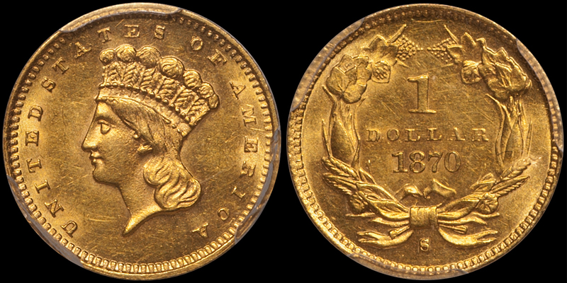 1870-S $1.00 PCGS MS62 CAC