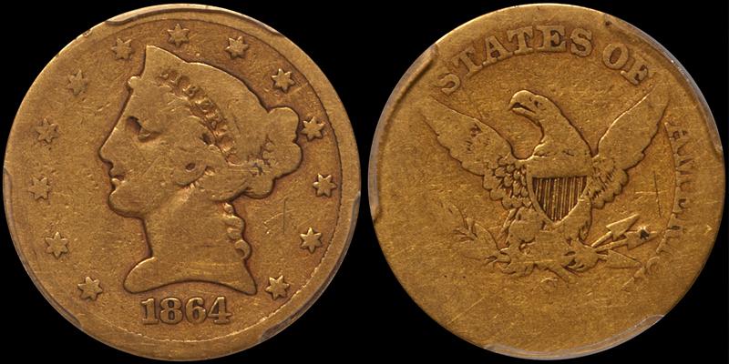 1864-S $5.00 PCGS AG03 CAC