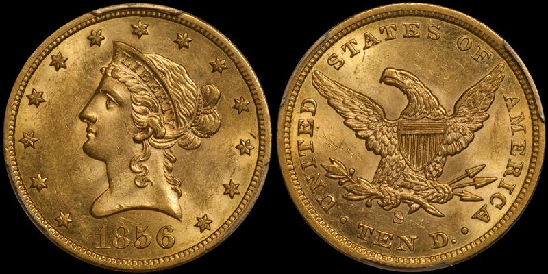 1856-S $10.00 PCGS MS61