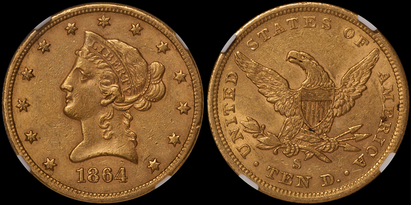 1864-S $10.00 NGC AU55