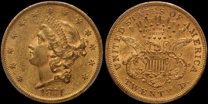 1871-S $20.00 PCGS AU58 CAC