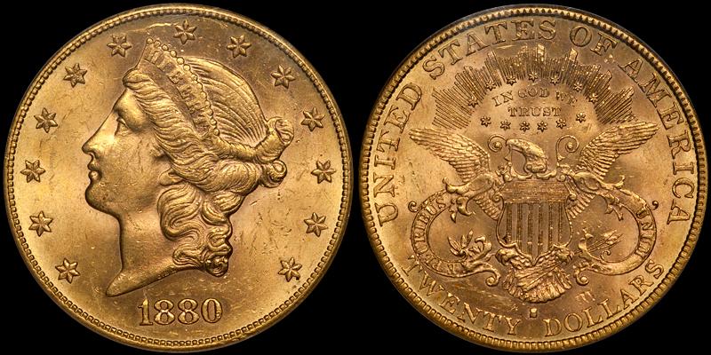 1880-S $20.00 PCGS MS61