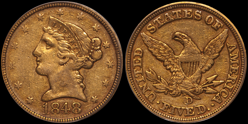 1848-D $5.00 PCGS EF40, with a CAC Gold Sticker