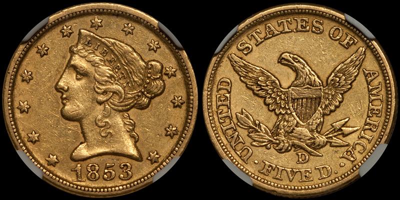 1853-D $5.00 NGC AU55 CAC