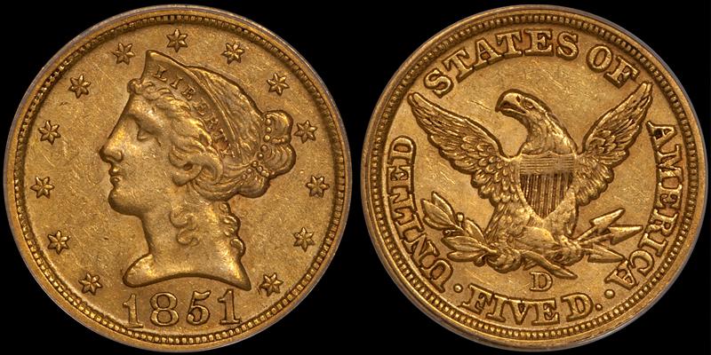 1851-D $5.00 PCGS AU53 CAC