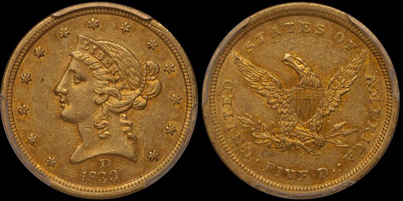 1839-D $5.00 PCGS AU55 CAC