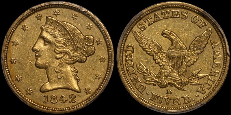 1842-D Large Date $5.00 PCGS AU55 CAC